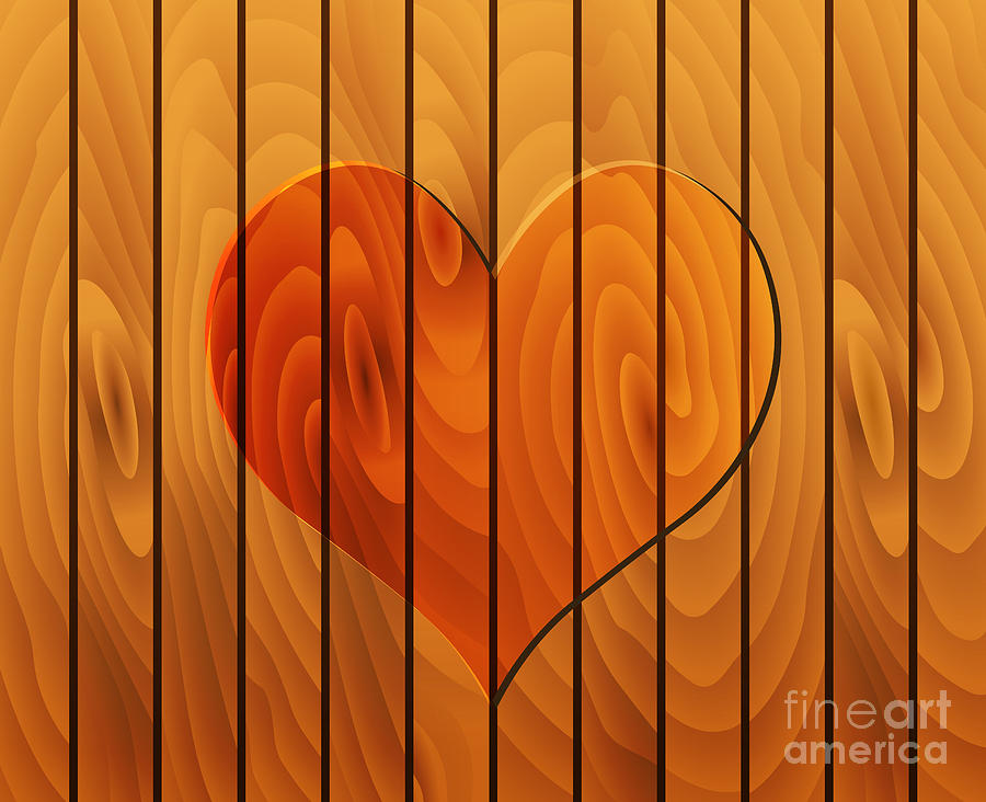 Heart On Wooden Texture Digital Art  - Heart On Wooden Texture Fine Art Print