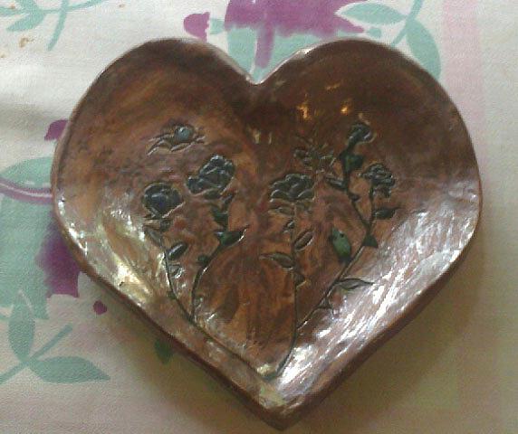 Heart Rose Plate Ceramic Art