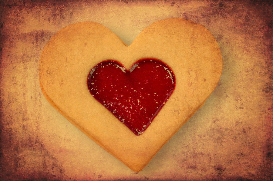 Heart Shaped Cookie With Texture Photograph  - Heart Shaped Cookie With Texture Fine Art Print