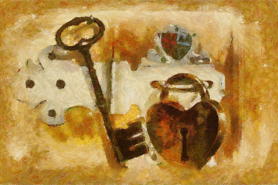Heart Shaped Lock With Key Painting  - Heart Shaped Lock With Key Fine Art Print