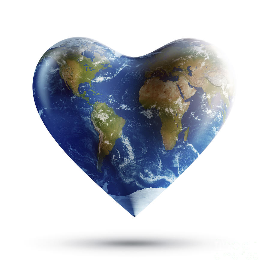 Heart Shaped Planet Earth On A White Digital Art By Evgeny