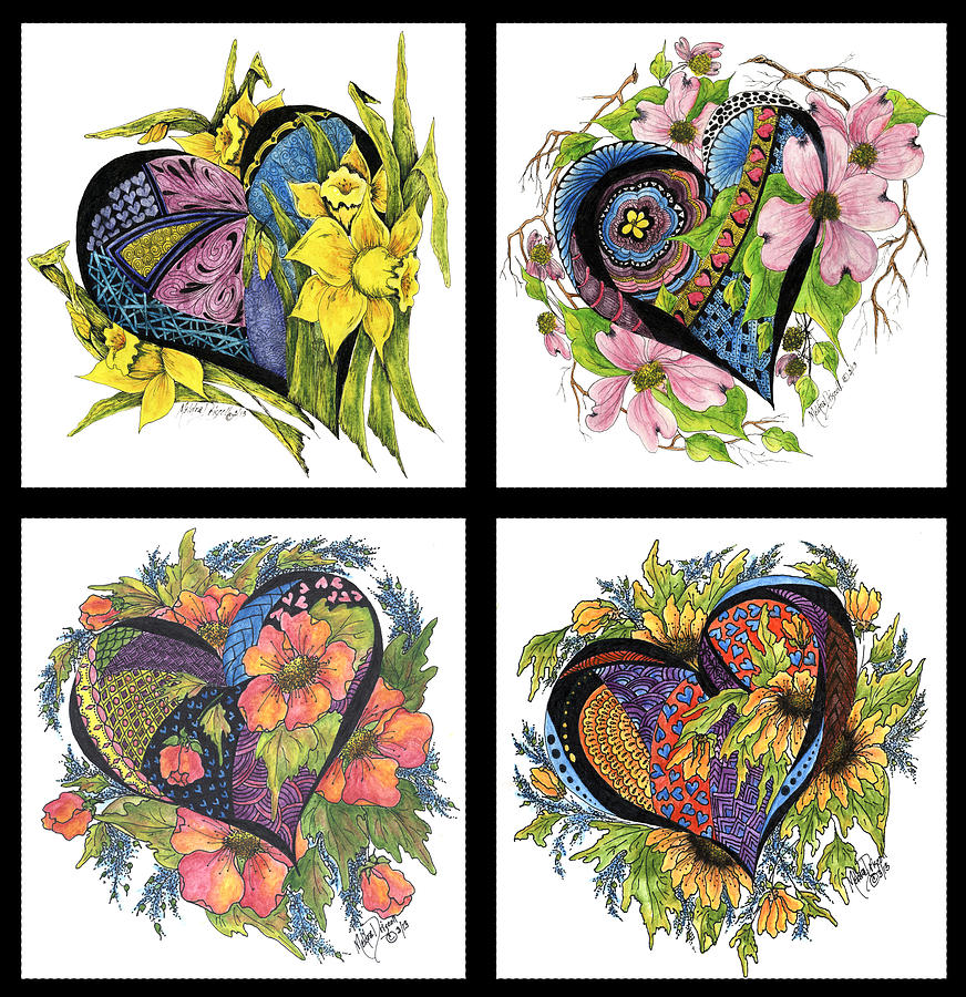 Hearts Embraced By Spring Flowers Painting