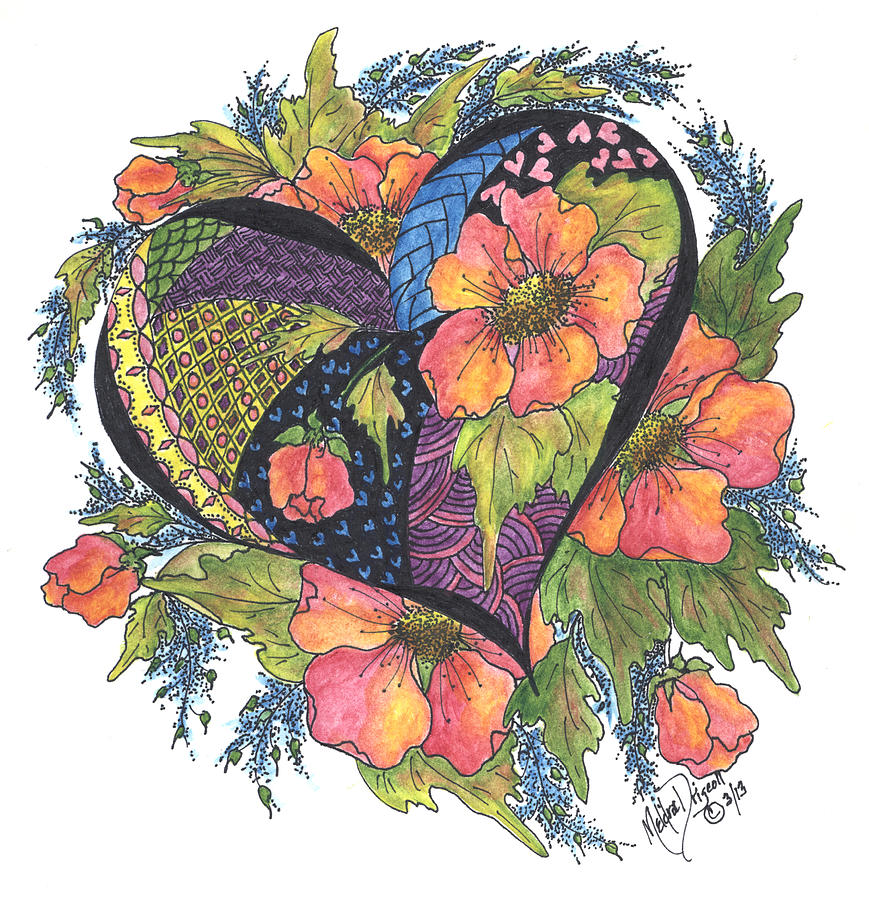 Hearts Embraced By Wild Flowers Painting  - Hearts Embraced By Wild Flowers Fine Art Print