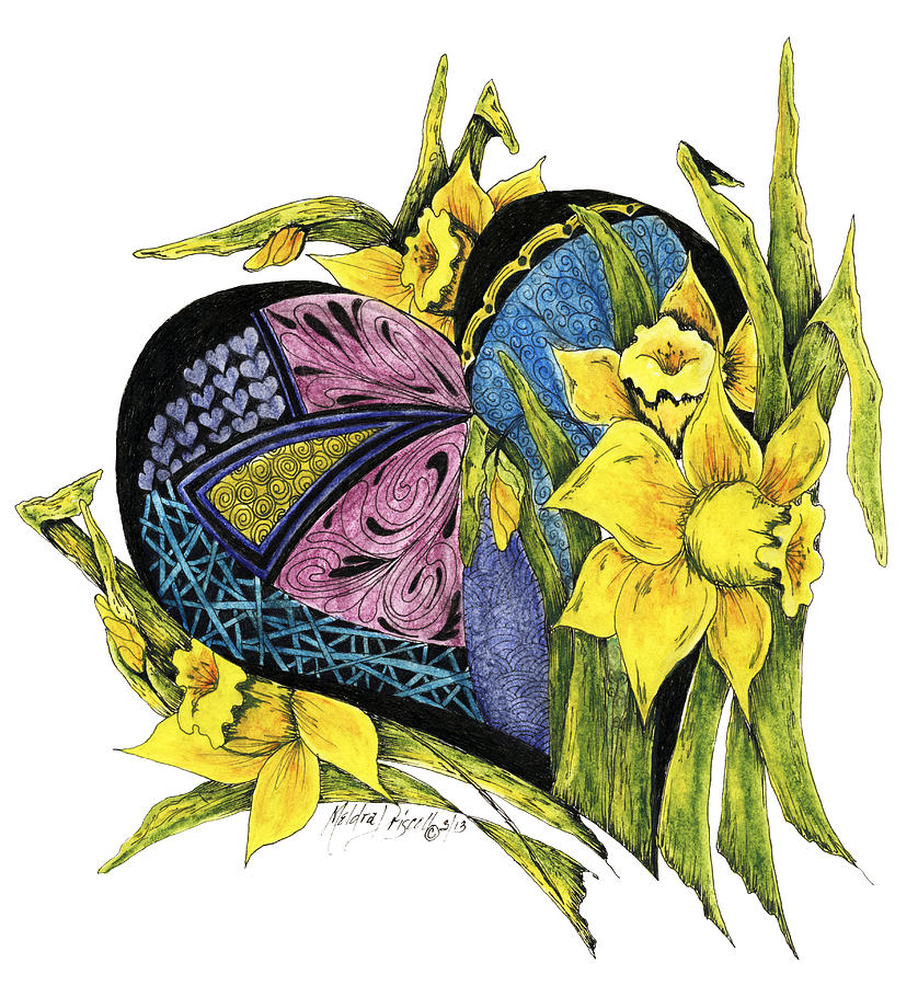 Hearts Embraced By Yellow Daffodils Painting  - Hearts Embraced By Yellow Daffodils Fine Art Print