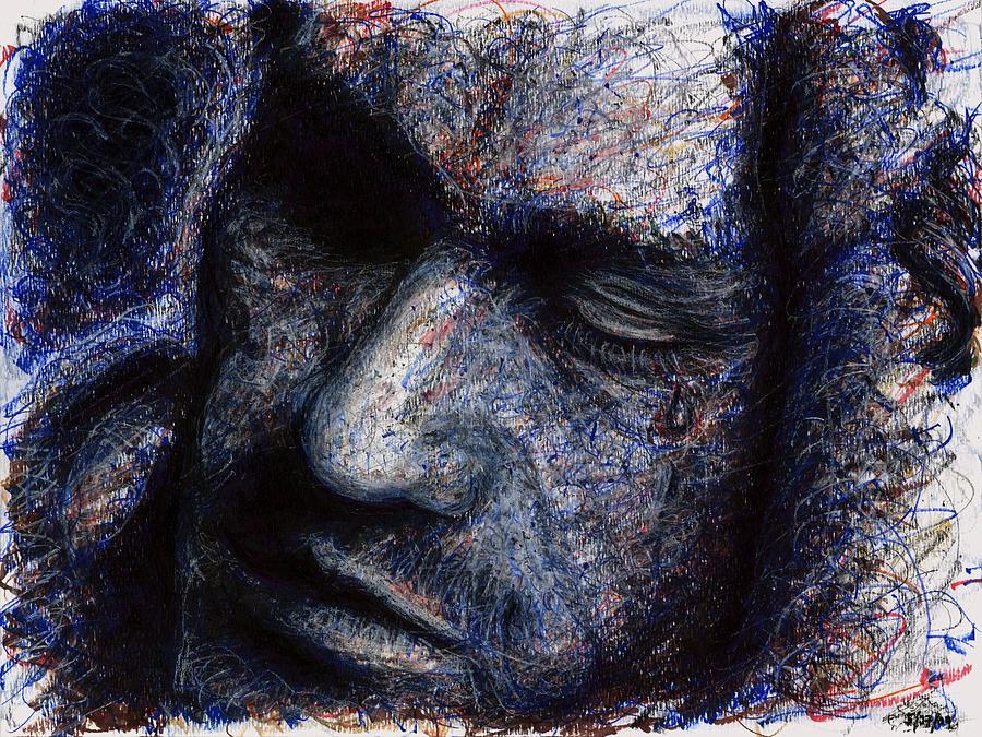 Heath Ledger Drawing - Heath Ledger - Blue by Rachel Scott