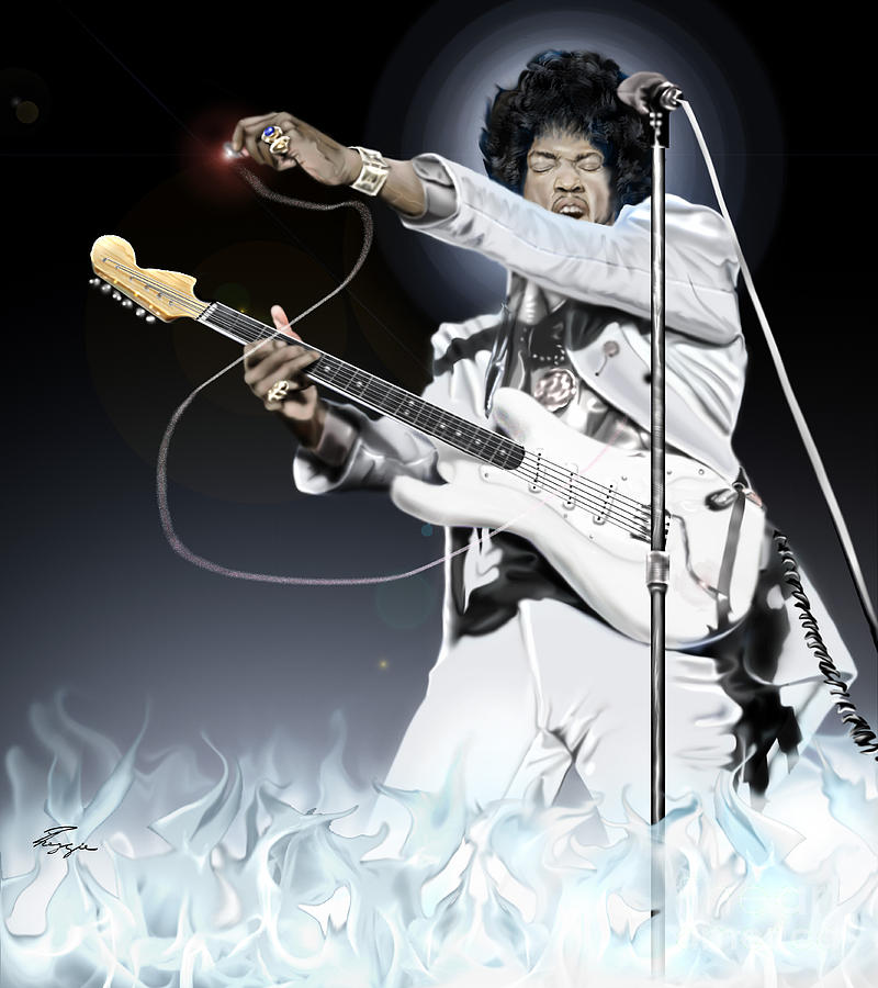 Heavens Fire - The Jimi Hendrix Series  Painting