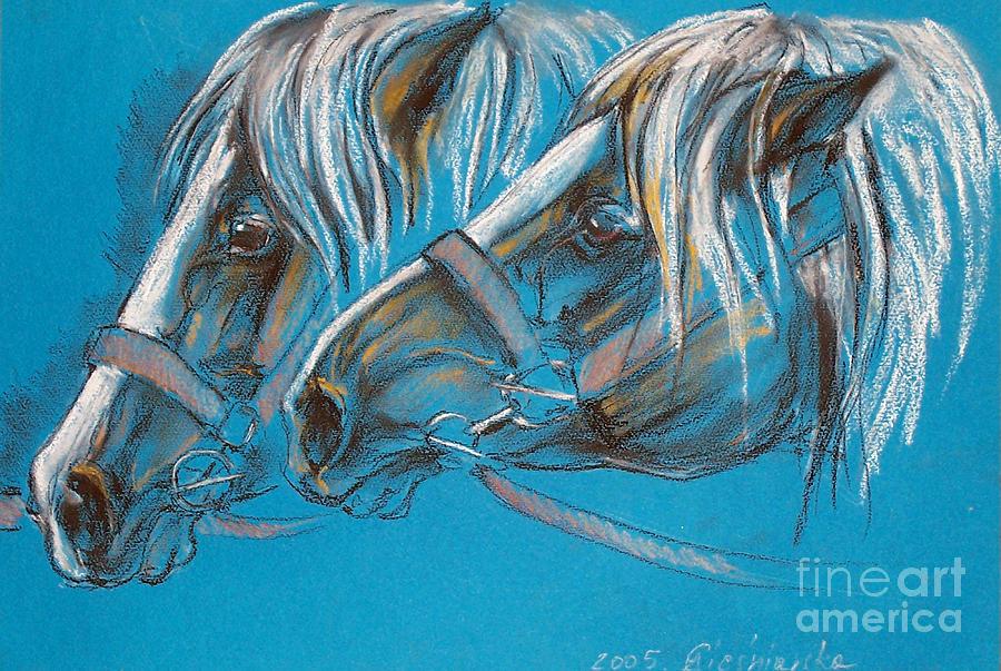 Horse Pastel - Heavy Horses by Angel  Tarantella