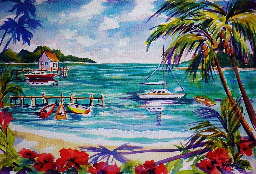 Heeia Bay Pier On Oahu Painting  - Heeia Bay Pier On Oahu Fine Art Print