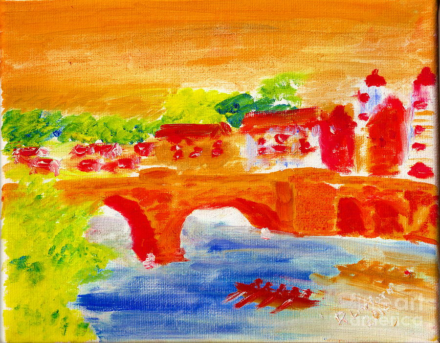 Heidelberg Old Bridge And Neckar River 1 Painting