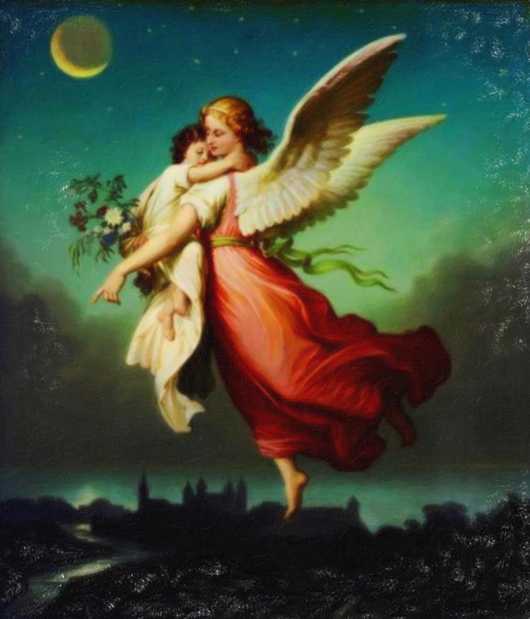 Heiliger Schutzengel  Guardian Angel 10 Pastel Painting