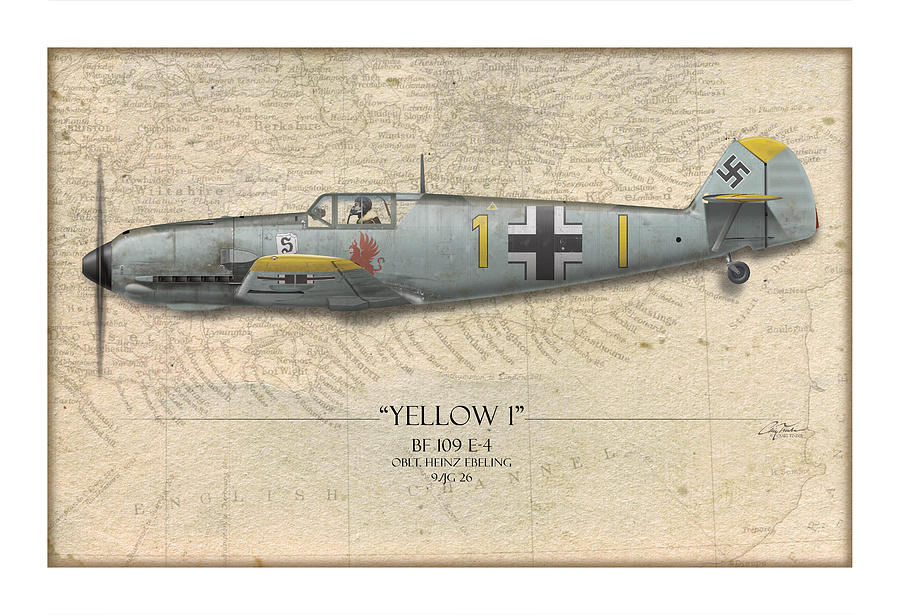 Heinz Ebeling Messerschmitt Bf-109 - Map Background Painting