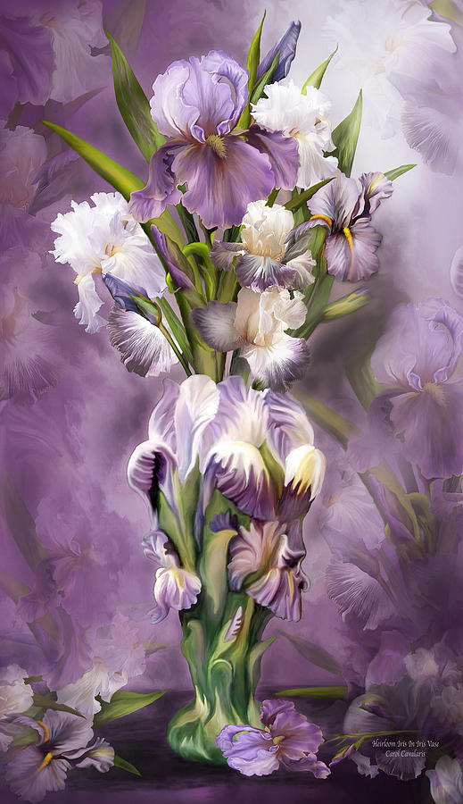 Heirloom Iris Mixed Media - Heirloom Iris In Iris Vase by Carol Cavalaris