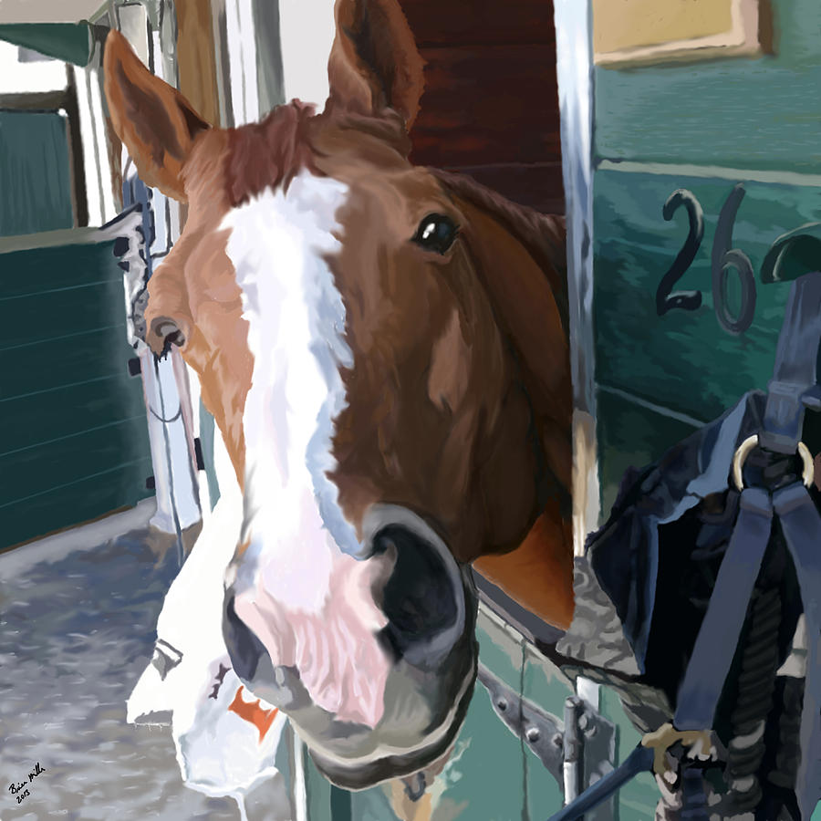 Horse Painting - Hello by Brien Miller
