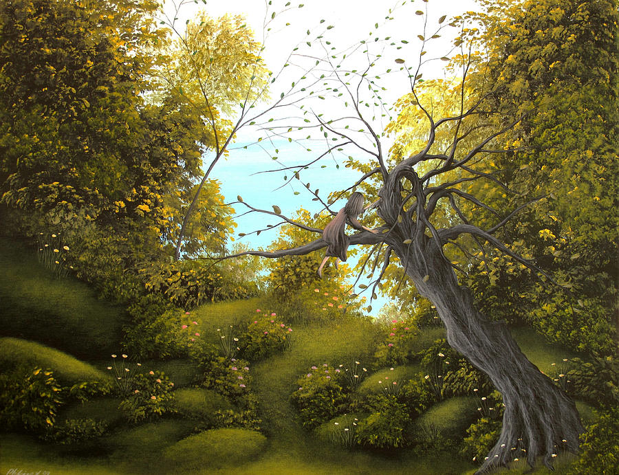 Hello Mr. Tree. Fantasy Fairy Tale Landscape Painting. By Philippe Fernandez Painting  - Hello Mr. Tree. Fantasy Fairy Tale Landscape Painting. By Philippe Fernandez Fine Art Print