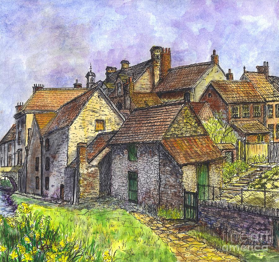 Stone Houses Painting - Helmsley Village -  In Yorkshire England  by Carol Wisniewski
