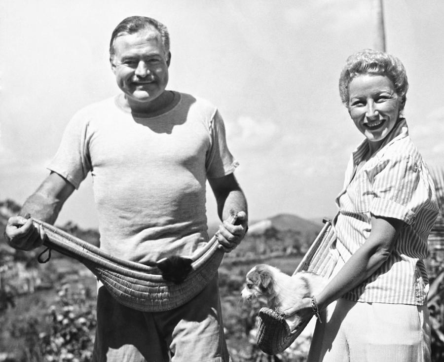 Hemingway, Wife And Pets Photograph