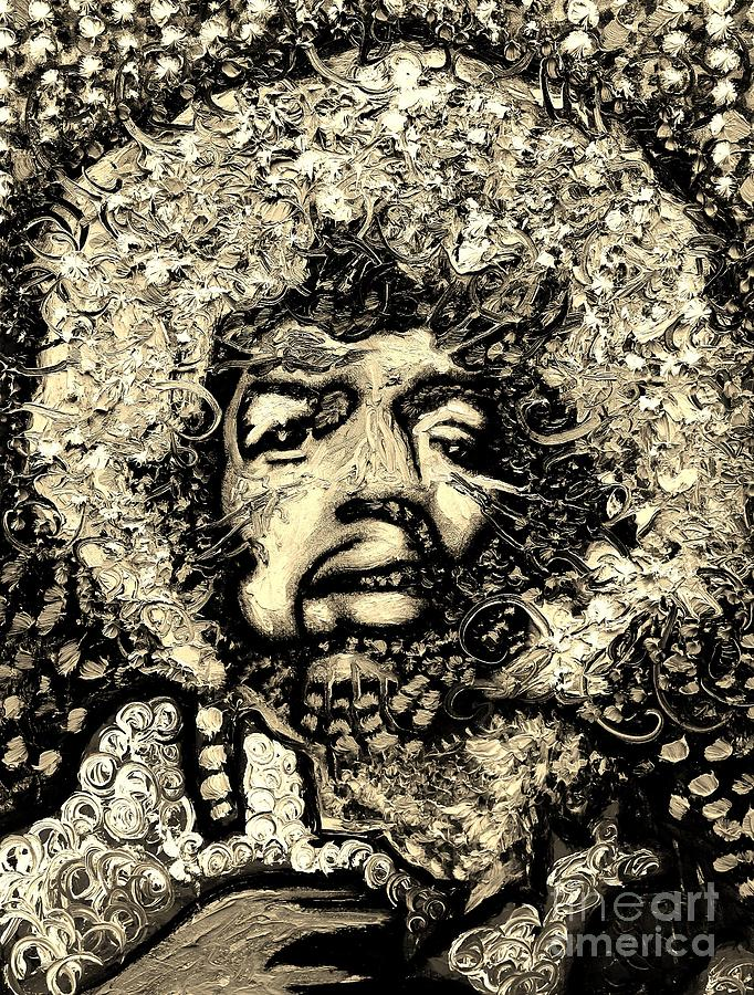 Hendrix Black And White Digital Art  - Hendrix Black And White Fine Art Print