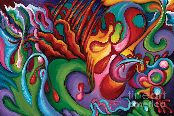 Abstract Art Painting - Hendrix Voodoo Magick by Tiffany Davis-Rustam