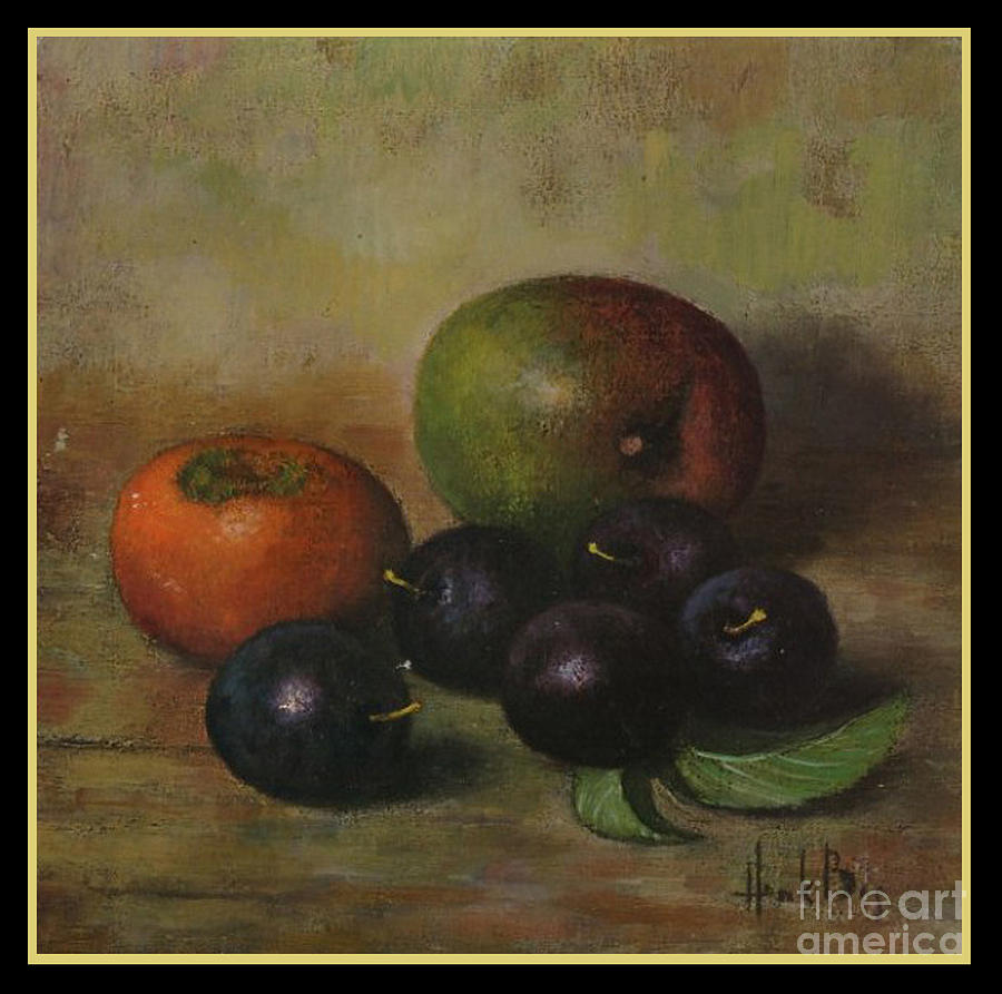 Henk Box Plums Apple Persimmon Fruit Fruits Still Life Painting Vintage Pierpont Bay Archives Henk Bos Box  Digital Art - Henk Bos Fruits Still Life Plums  by Pierpont Bay Archives