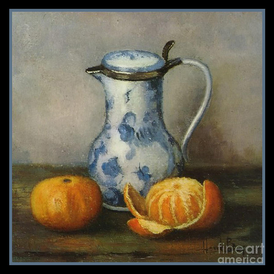 Henk Bos Fruits Still Life Tangerine With Pitcher Digital Art  - Henk Bos Fruits Still Life Tangerine With Pitcher Fine Art Print
