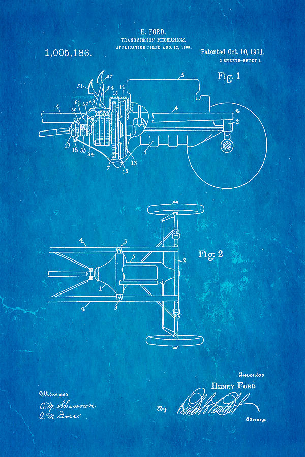 Henry Ford Transmission Mechanism Patent Art 1911 Blueprint Photograph