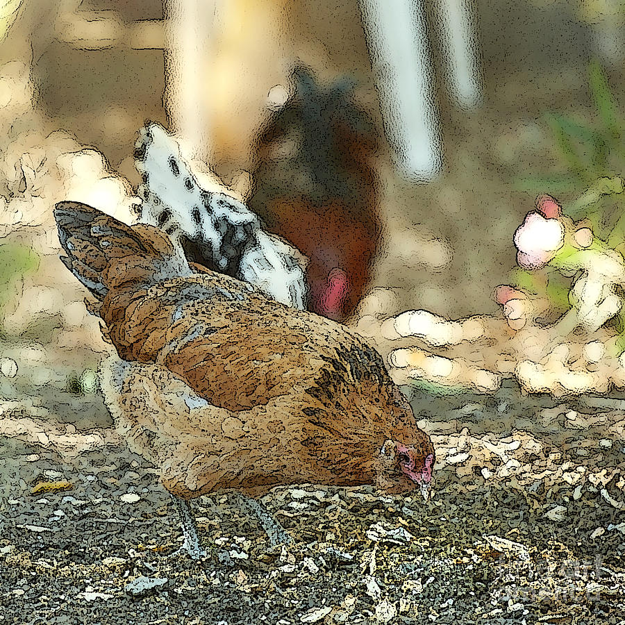 Hens Scratching Around Painting
