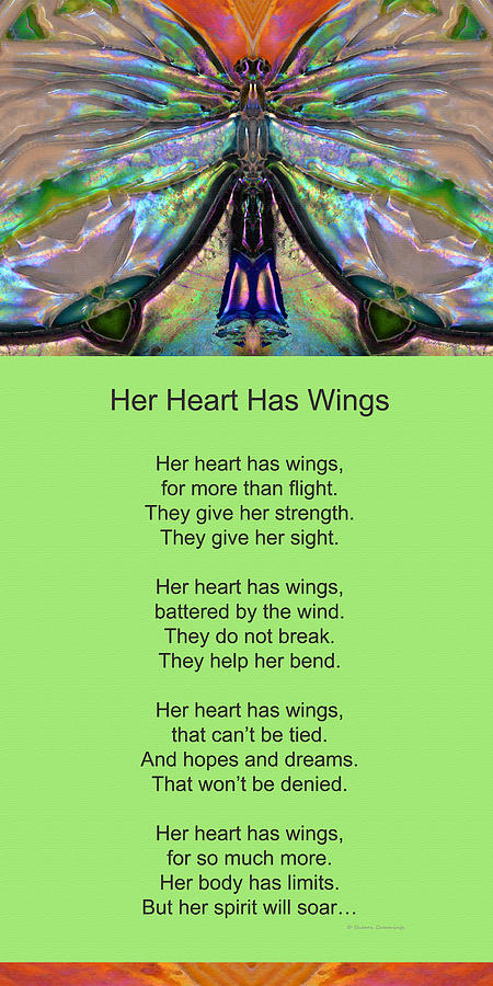 Her Heart Has Wings With Poem By Sharon Cummings Painting