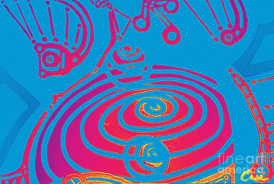 Her Navel Electric Vibrates Pulsates  Digital Art
