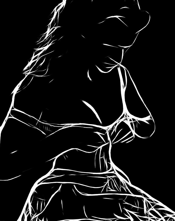 Female Woman Body Nude Breast Tits Scape Figure Curve Curves Painting Naked Black White Erotic 裸 Girl  Sex Intimate  Virgin Boobs Butt Innocence Male Men Man Lover Love Couple Kiss Intimo Erotico Vergine Culo Tette Innocenza Fille Femme Sexe Erotique Seduction Lust Black White Love Making Faith Long Hair Dress Expressionism Impressionism  Innocence Minimalism Cheerleader Lolita Painting - Her New Dress by Steve K