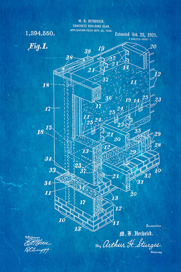 Herbrick Concrete Building Slab Patent Art 1921 Blueprint Photograph