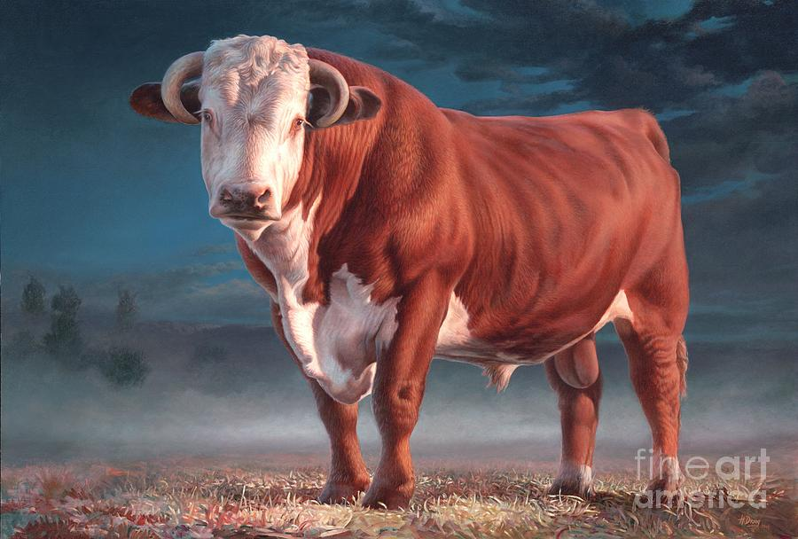 Hereford Bull Painting - Hereford Bull by Hans Droog