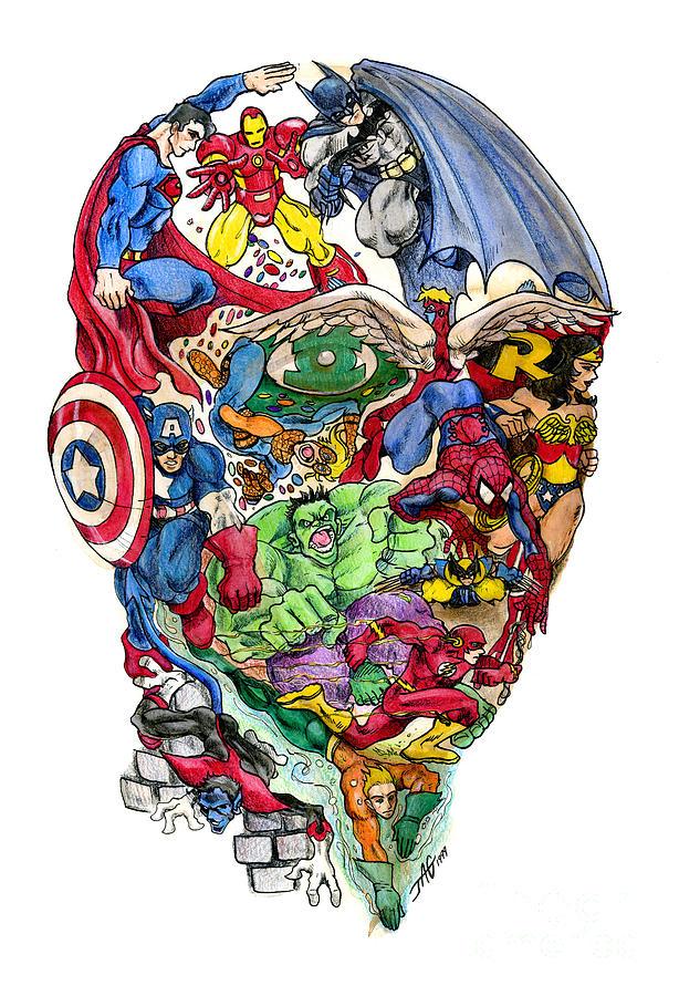 Surreal Drawing - Heroic Mind by John Ashton Golden