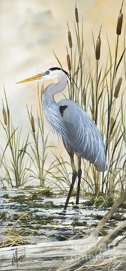 Heron And Cattails Painting  - Heron And Cattails Fine Art Print