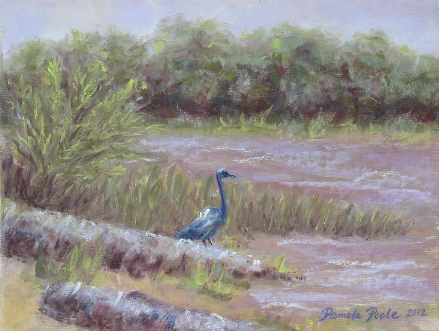 Heron At Jordan Lake Painting