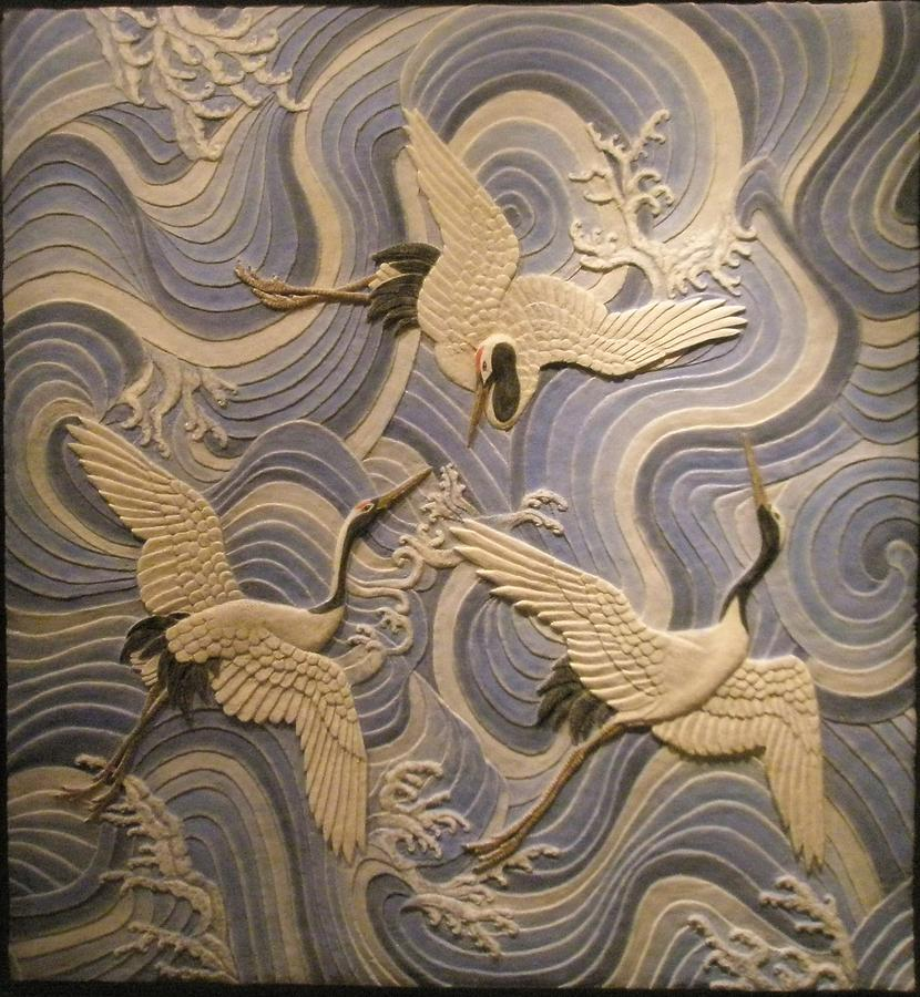 Ancient Reliefs Sculpture - Herons Over The Sea. by Jose Manuel Solares
