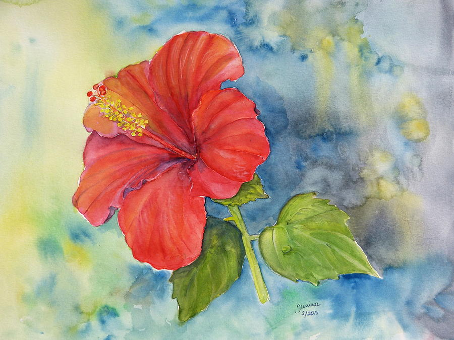 Nature Painting - Hibiscus  by Janina  Suuronen