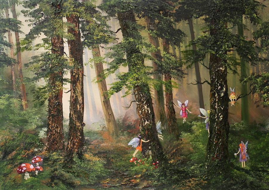 Fairies Painting - Hide N Seek by Jean Walker