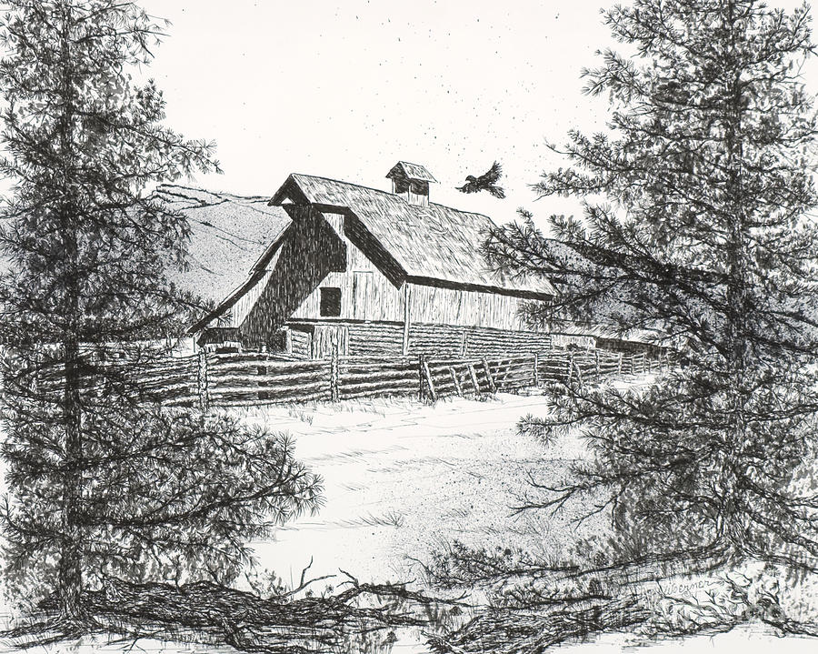 High Country Barn Drawing