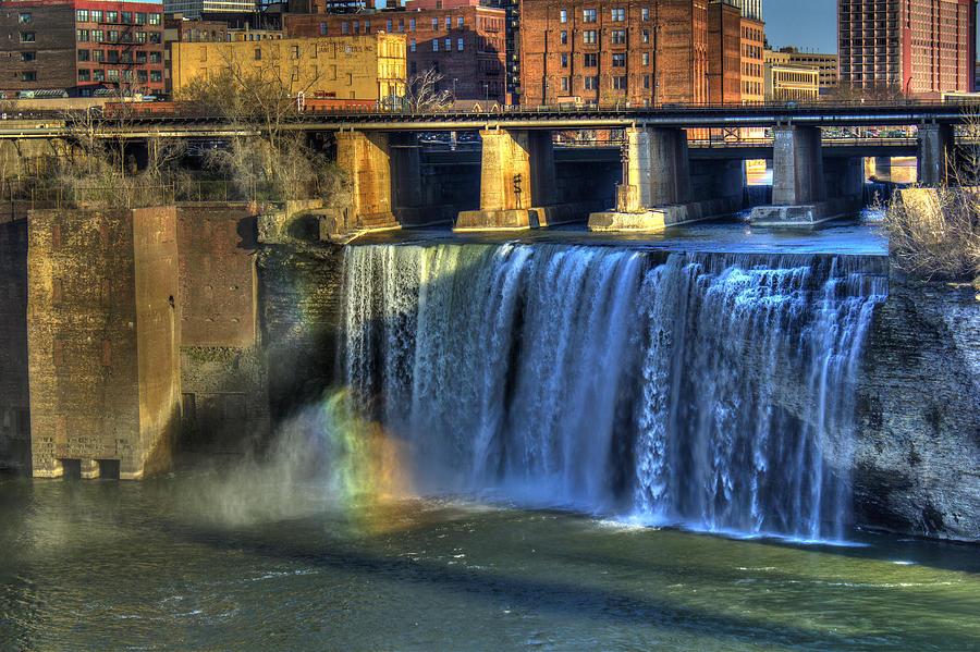 Rainbow Photograph - High Falls Rainbow by Tim Buisman