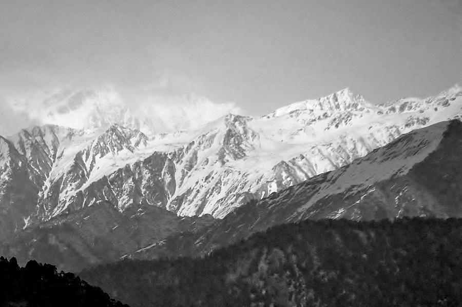 High Himalayas - Black And White Photograph