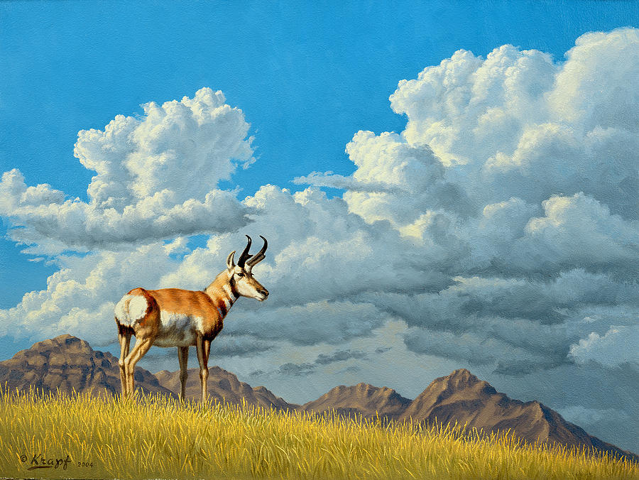 Landscape Painting - High Meadow - Pronghorn by Paul Krapf