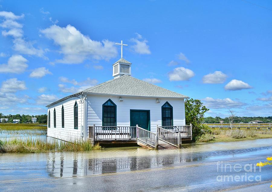 Historic Photograph - High Tide At Pawleys Island Church by Kathy Baccari