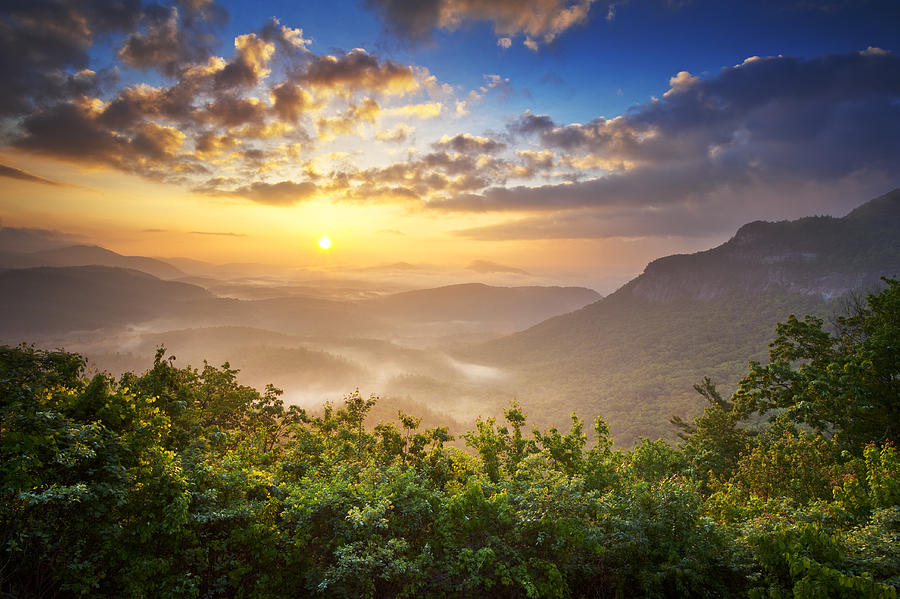 Highlands Sunrise - Whitesides Mountain In Highlands Nc Photograph