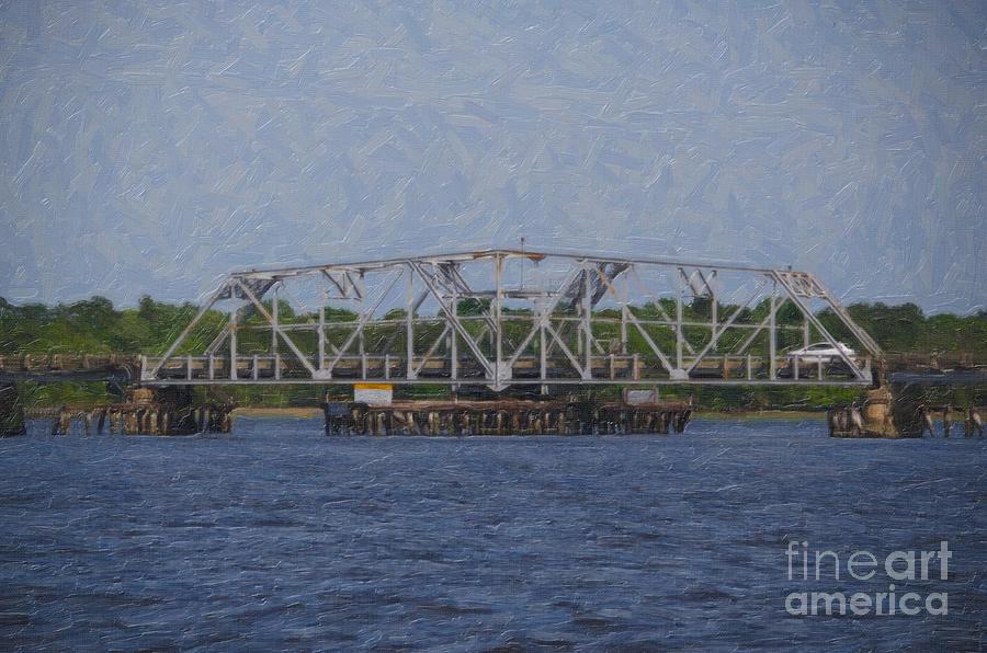 Highway 41 Swing Bridge Over The Wando River Digital Art