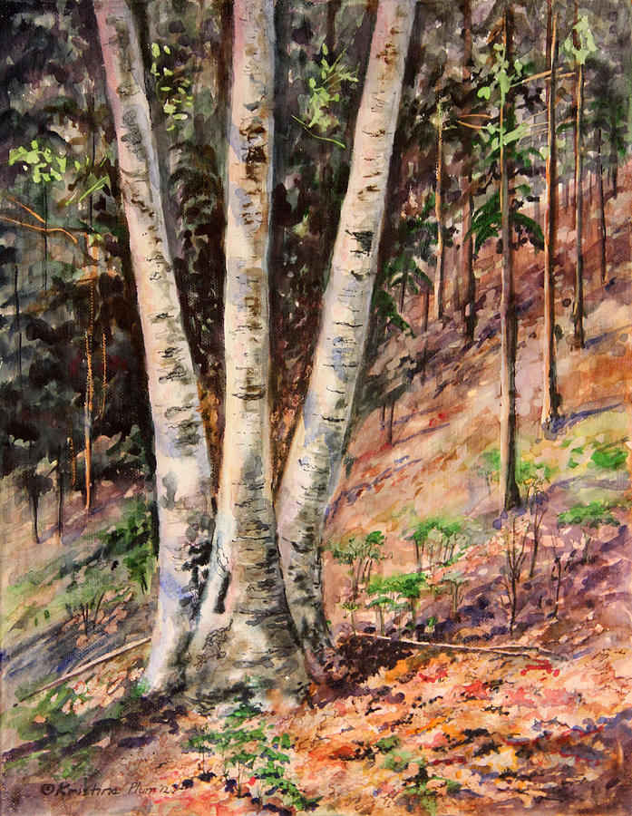 Hillside Birch Painting