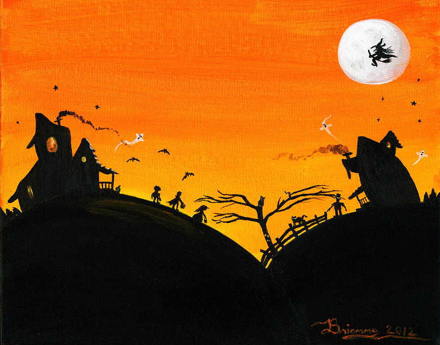 Hilly Haunted Houses Painting  - Hilly Haunted Houses Fine Art Print