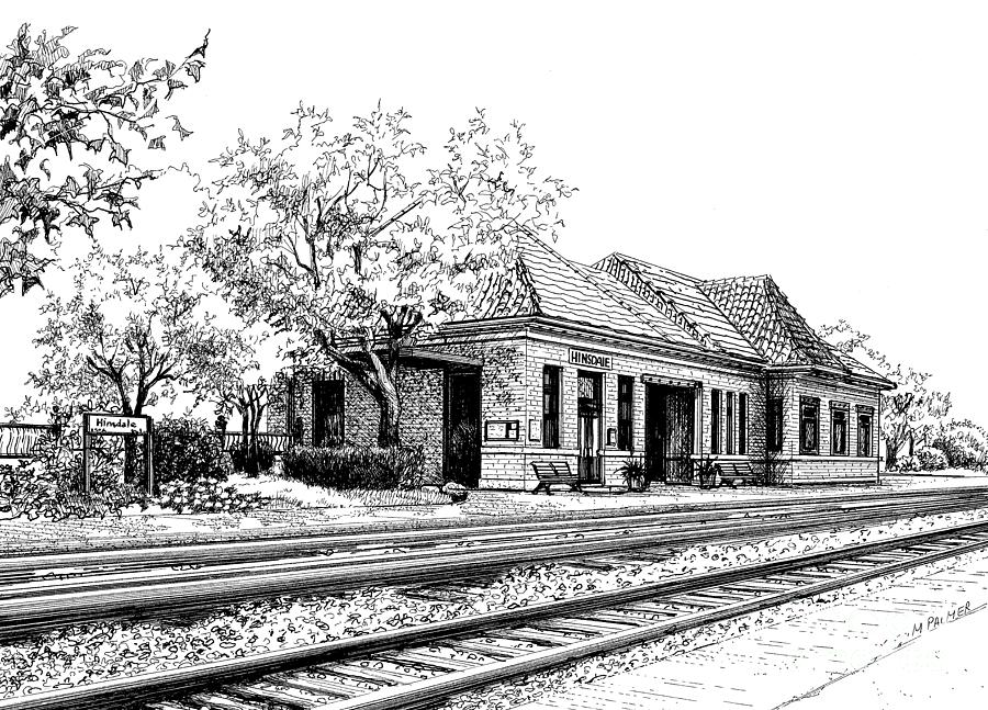 Hinsdale Train Station Drawing by Mary Palmer