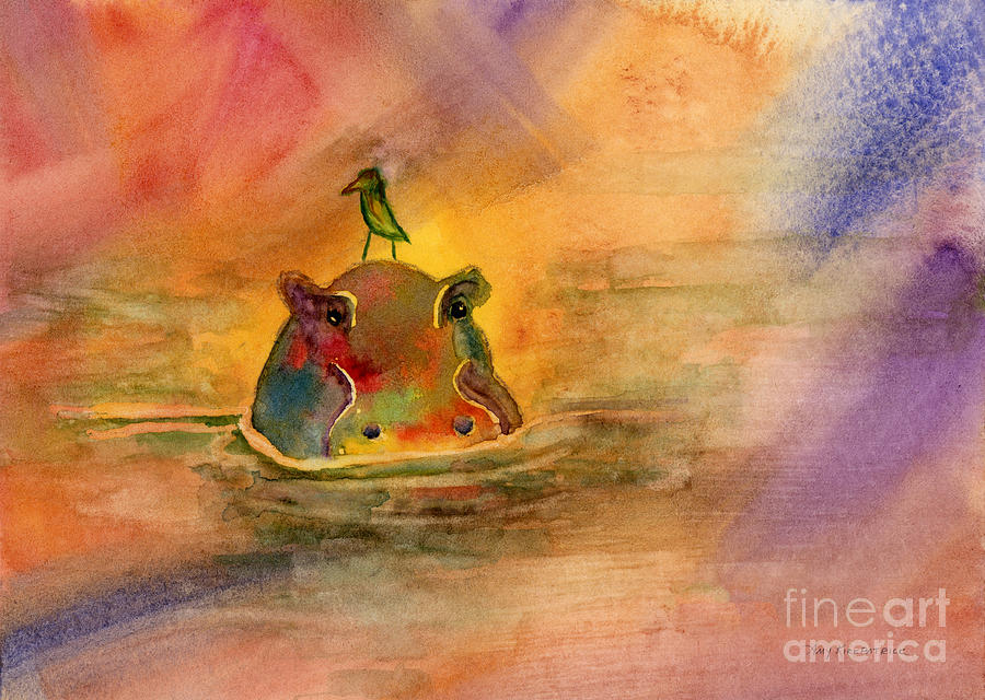 Hippo Birdie Painting