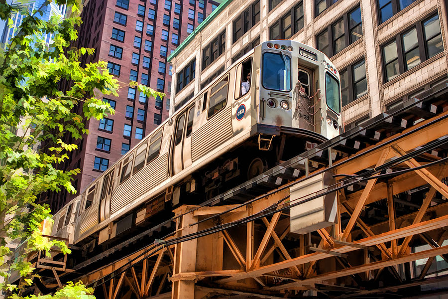 Historic Chicago El Train Painting By Christopher Arndt