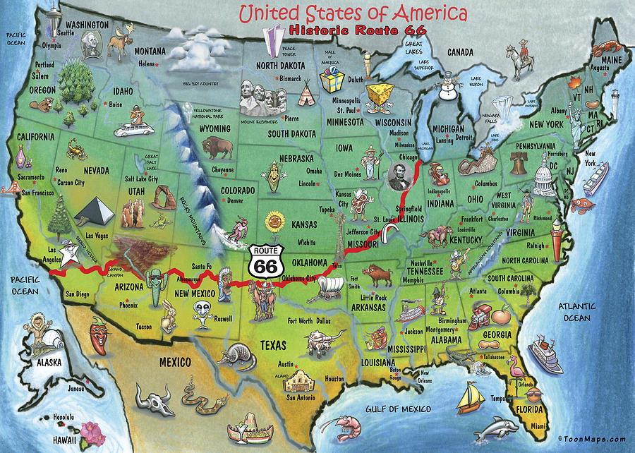 Historic Route 66 Cartoon Map By Kevin Middleton Royalty Free And